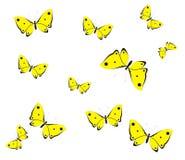 Gula fjärilar stock illustrationer