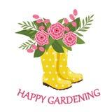 Gula gummistöveler med vårbuketten och text 'lyckligt arbeta i trädgården ', vektor illustrationer