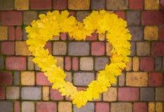 Gula höstsidor lade i form av en hjärta på trottoaren royaltyfri bild
