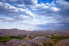 Gula kullar, Badlands nationalpark, South Dakota arkivfoto