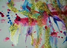 Gula linjer för färgrik guld- regnbåge, pastellfärgade toner Royaltyfri Foto