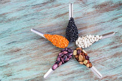 Gula linser, svart, vit, brunt, purpurfärgade njurebönor på spoo Arkivfoton