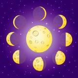 Gula månefaser för tecknad film på den blåa bakgrunden med glänsande stjärnor Royaltyfria Bilder