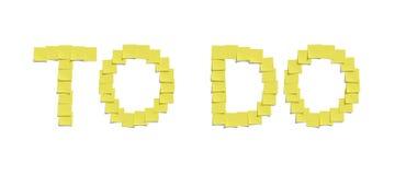 Gula minneslistaanmärkningar som illustrerar för ATT GÖRA och inkluderar den snabba banan Arkivfoton