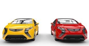 Gula och röda bilar Royaltyfri Fotografi