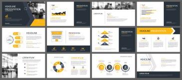 Gula presentationsmallar och infographicsbeståndsdelbackgrou Royaltyfria Bilder