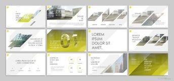 Gula presentationsmallbeståndsdelar på en vit bakgrund Arkivbild