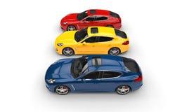 Gula röda och blåa snabba bilar Arkivfoton