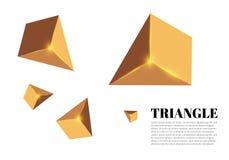 Gula realistiska trianglar och guld- ljusa effekter växt för effekt 3d… leaves för green rörelse av flygtrianglar också vektor fö Arkivfoto