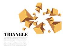 Gula realistiska trianglar och guld- ljusa effekter växt för effekt 3d… leaves för green rörelse av flygtrianglar också vektor fö Royaltyfria Foton