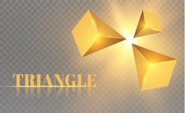 Gula realistiska trianglar och guld- ljusa effekter växt för effekt 3d… leaves för green rörelse av flygtrianglar också vektor fö Royaltyfri Bild