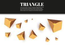 Gula realistiska trianglar och guld- ljusa effekter växt för effekt 3d… leaves för green rörelse av flygtrianglar också vektor fö Arkivbilder
