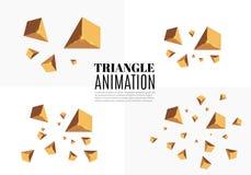 Gula realistiska trianglar och guld- ljusa effekter växt för effekt 3d… leaves för green rörelse av flygtrianglar också vektor fö Arkivbild
