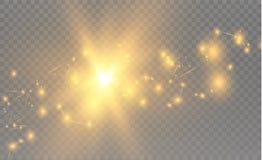 Gula realistiska trianglar och guld- ljusa effekter växt för effekt 3d… leaves för green rörelse av flygtrianglar också vektor fö Royaltyfri Fotografi