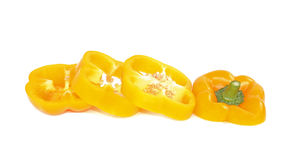 Gula söta peppar med vit bakgrund fotografering för bildbyråer