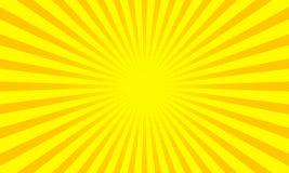 Gula solstrålar eller solstrålbakgrund med design för prickpopkonst abstrakt bakgrundsvektor royaltyfri illustrationer