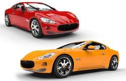 Gula sportbilar som är röda och Royaltyfria Bilder