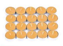 20 gula stearinljus Royaltyfri Bild