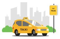 Gula taxist?llningar i parkeringsplatsen p? bakgrunden av staden stock illustrationer