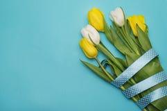 Gula tulpan med det gula bandet på blått Arkivfoton
