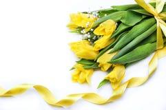 Gula tulpan med det gula bandet på vit bakgrund Royaltyfria Foton