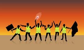 Gula västar protesterar i Paris Frankrike framme av solnedgången vektor illustrationer