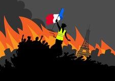 Gula västar protesterar rörelsediagram på cityscape och Eiffeltorn Kvinnafrihet och fransk flagga på barrikaden vektor illustrationer