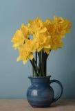 Gula vårpåskliljor i blå tillbringare på tabellen Royaltyfria Bilder