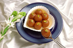 Gulab Jaman in Heart Dish Royalty Free Stock Photography