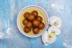 Gulab jamun -印地安甜盘 图库摄影