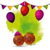 Gulal powder color balloons and garland decoration Royalty Free Stock Photos