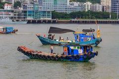 Chinese fishing boats near the Gulangyu Island in China. Gulangyu, China - September 14, 2013: Chinese fishing boats viewed from Gulangyu Island stock photo