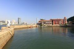 Gulangyu schützte Dock, luftgetrockneten Ziegelstein rgb Lizenzfreie Stockfotografie