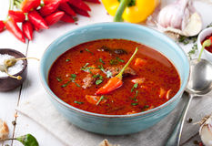 Gulasch nötkött, tomaten, peppar, chili, rökte paprikasoppa royaltyfri fotografi