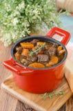 Gulasz wołowina z warzywami i przycina w czerwieni obsady żelaza niecce v Obrazy Stock