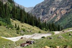 Gulch Cunningham πράσινες καταστροφές ορυχείου βουνών στοκ εικόνες