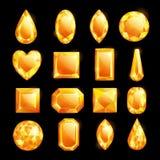 Guld- ädelstenar, vektortecknad filmillustration Ställ in av diamanter och juvlar Skinande dyrbara gemstones planlägger beståndsd stock illustrationer