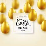 Guld- ägg för påsk med calligraphic bokstäver Traditionella vårferier i April eller mars sunday Ägg och guld bifokal vektor illustrationer