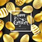 Guld- ägg för påsk med calligraphic bokstäver Traditionella vårferier i April eller mars sunday Ägg och guld bifokal royaltyfri illustrationer