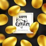Guld- ägg för påsk med calligraphic bokstäver Traditionella vårferier i April eller mars sunday Ägg och guld bifokal stock illustrationer