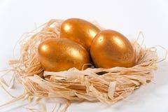 Guld- ägg i ett dekorativt rede arkivbild