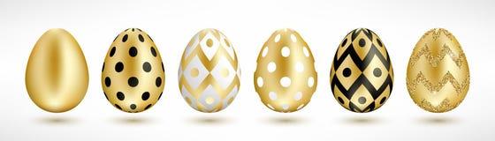 Guld- ägguppsättning för påsk stock illustrationer