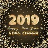 Guld- år för text 2019 för vektor lyxig lyckligt nytt Guld- festlig nummerdesign Blänka konfettier Fyrkantiga försäljningsbanersi royaltyfri illustrationer