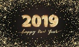 Guld- år för text 2019 för vektor lyxig lyckligt nytt Guld- festlig nummerdesign Guld blänker konfettier Siffror för baner 2019 royaltyfri illustrationer