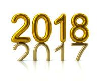 Guld 2018 år nummer föregående årnumret som trycker på på pet Arkivbilder