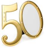Guld- årsdag för fotoramfödelsedag 50 av isolering på en vit bakgrund förgylld ram lade in stenar Royaltyfria Foton