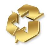 guld återanvänder symbol Arkivbild