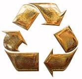 Guld- återvinningsymbol Royaltyfri Foto