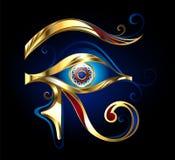 Guld- öga av Horus på svart bakgrund vektor illustrationer