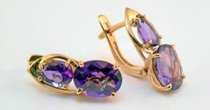 Guld- örhängen med ametistmellanlägg Royaltyfri Fotografi